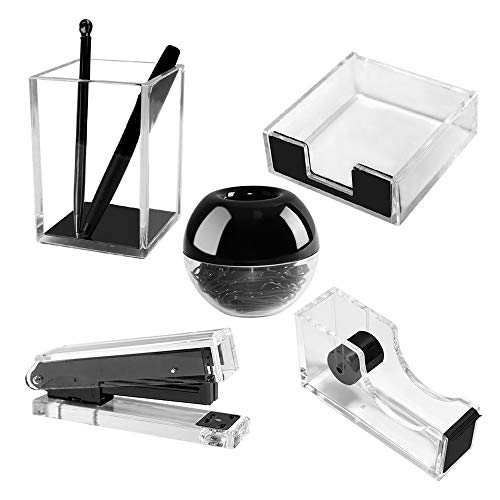 Multibey Clear Acrylic Office Supplies for Desk, Black Desktop Accessories Stationery of Pen Holder, Stapler, Paper Clips with Clips, Sticky Notes Pad Holder, Tape Dispenser (Black, 5 PCS)