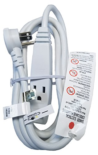Barium Electric 10 Ft Extension Cord Angled Plug White 10 Foot | 3 Outlets | 16 AWG | 1625 Watt | 13 Amp | 120 Volt - Electronics, Appliances, Power Tools - 3 prong, 16 gauge, w/ground, 110-125V