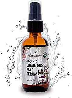 Bee All Natural Organic Luminous Face Serum | Enriched with Grape Seed & Argan Oil | For Youthful, Moisturized & Nourished Skin | Perfect for Men & Women | USDA Certified Organic | 2 oz. Glass Bottle
