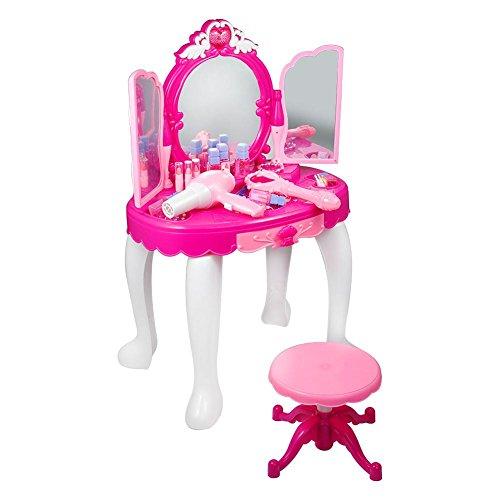 EBTOOLS Princess Schminktisch mit Hocker, Haartrockner, Rosa Make-up Tischspielzeug Frisierkommode für mädchen