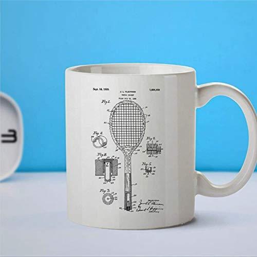 Taza de café con diseño de raqueta de tenis, taza de café, para amantes de patentes, decoración deportiva, decoración de tenis, regalo de profesor, regalo de profesor, taza de café o té Festival