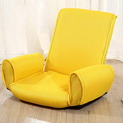Faltbare Lazy Couch Verstellbarer atmungsaktiver Stuhl mit 14 Positionen Lazy Recliner mit Armlehne Legless Tatami Bay Window Chair für Wohnräume - gelb