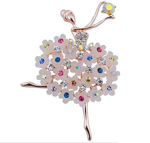 Kanggest Broche para Mujer Creativa Moda Estilo de mujer de ballet diamante Broche Elegante Broches para Ropa Bufanda Vestidos
