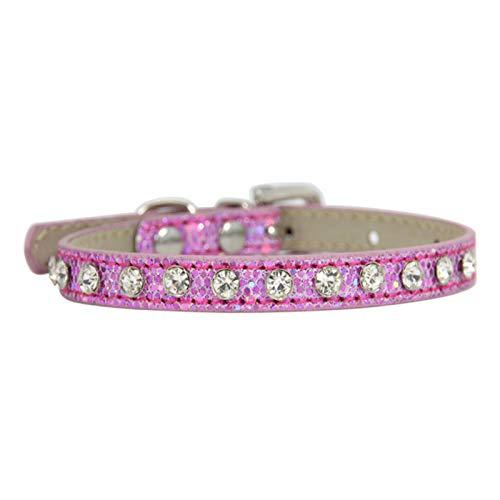 Xuyichangzhishi Collare per Animali Domestici Regolabile Rosa con Strass Gatti Collare per Cani Decorazione in Pelle Collana con Diamanti di Lusso per Cani di Piccola Taglia-Strass Rosa, 1.0x30cm