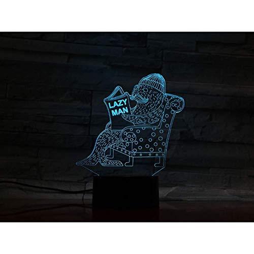 3D Illusion animal Joint Lazy Men lampe Led capteur USB ouch 7 couleurs RVB Lampe décorative Enfant Enfants Veilleuse lumière de nuit