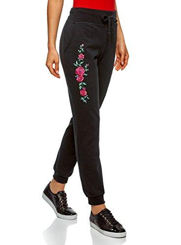 oodji Ultra Mujer Pantalones de Punto con Bordado, Negro, ES 38 / S