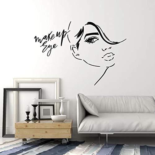 Chica cara tatuajes de pared maquillaje pestañas moda salón de belleza mujer decoración de interiores puerta ventanas vinilo adhesivo papel tapiz