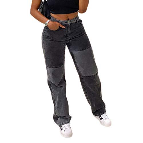 Damen Patchwork Jeans High Waist Patch Farbe Block Street Style Hip Hop Hosen Hosen Hosen (Black Grey, S)