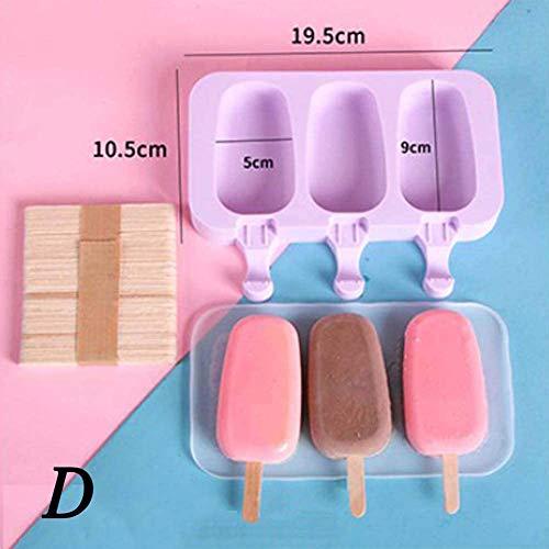 KSTORE Creme-Silikon-Form wiederverwendbarer Eiswürfel-Behälter Freeze-Mold-Silikon-Eiscreme-Form-DIY Eiscreme-Form-Werkzeug mit 50 Holz-Stick,D