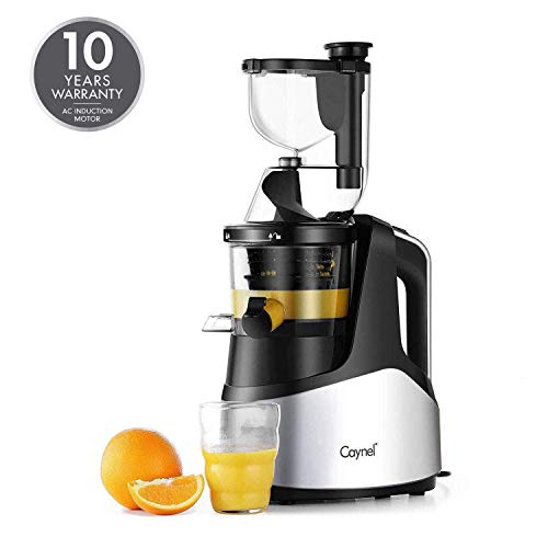 Caynel Slow Masticating Juicer Cold Press Extractor with 3' Wide Chute for Fruits, Vegetables and Herbs, Quiet Durable Motor with Reverse Function, Easy Cleaning High Yield Vertical Juicer, Tritan Material Non-toxic, BPA Free