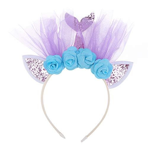 Lurrose Sirène Bandeau Paillettes Bande de Cheveux Coiffe de fête Accessoires de Cheveux pour Enfants Enfants (Rose avec des Fleurs)