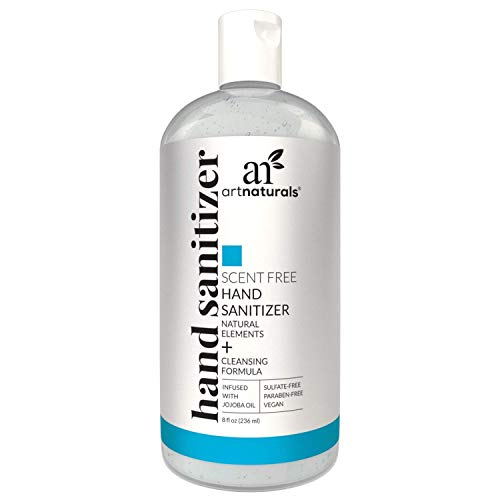 Artnaturals Alcohol Based Hand Sanitizer Gel (1 Pack x 8 Fl Oz / 220ml) Infused with Alovera Gel, Jojoba Oil & Vitamin E - Unscented Fragrance Free Sanitize