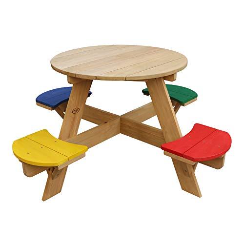AXI UFO Picknicktisch Rund für Kinder aus Holz | Runder Kindertisch für den Garten in Regenbogen Farben mit 4 Sitzen