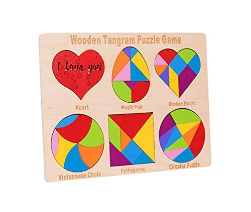 Yx-outdoor Juego de Rompecabezas de Inteligencia de Tangram Seis en uno geométrico de Madera, iluminación de Colores y Formas, Material didáctico Montessori de Pensamiento Espacial matemático