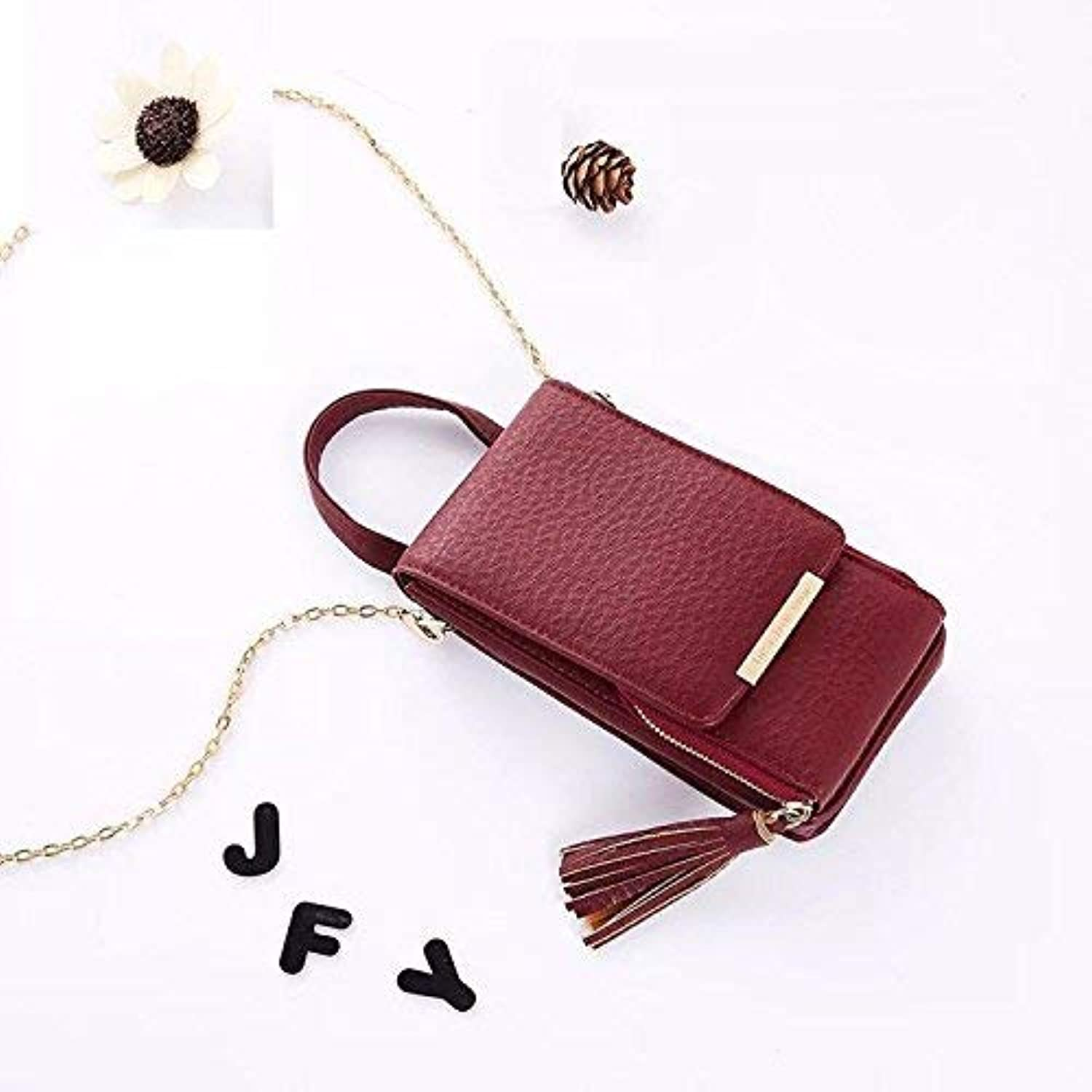 Girls Purse Small Bag Lady Satchel Chain Bag Lady Fashion, Fringed Mobile Phone Wallet (color   Bordeaux)
