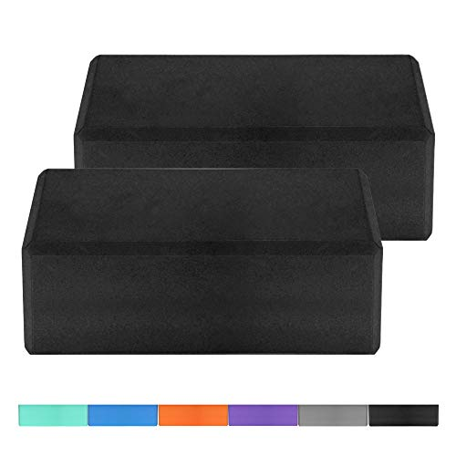 1PCS / 2PCS EVA Yoga Blocks Latex-free Non-slip Surface for Yoga Pilates Meditation (Black, 2PCs)