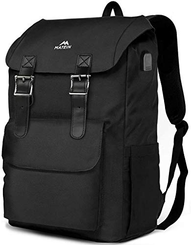 MATEIN Travel Laptop Backpack, Large School outdoor Rucksack Backpack for Men Women,Lightweight Bookbag with USB Charging Port,Casual Hiking Daypack Fit 17 Inch Laptop (Black)