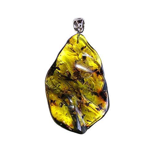 France Minéraux - Ciondolo in ambra verde, pietra grezza