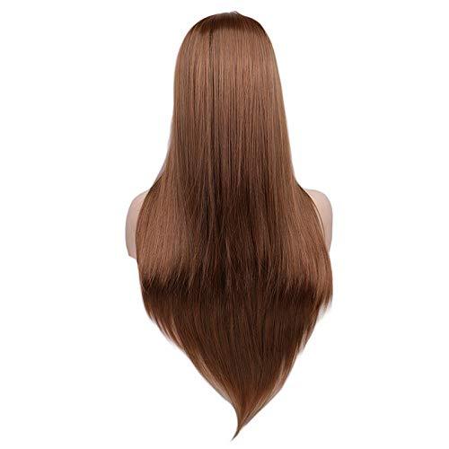 Femmes Longue Ligne Droite Perruque de Cosplay Perruque de Cheveux Blanc Haute température Perruques synthétiques de Fibres (Color : Light Brown, Stre