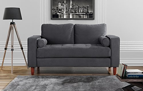 Divano Roma Furniture Couch for Living Room, Tufted Velvet Fabric Sofa with Back Cushions, Tufted Bottom and 2 Extra Cushions (Grey)