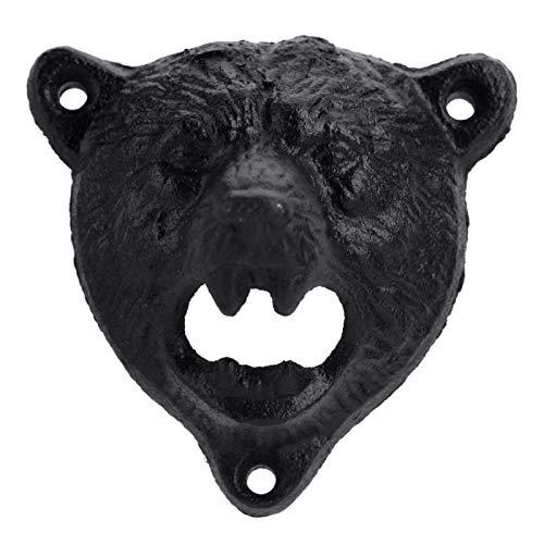 Abrebotellas - 1 pieza de hierro fundido con forma de oso montado en la pared, abridor de tapa de botella de vidrio de soda de cerveza, herramientas de barra de cocina caliente