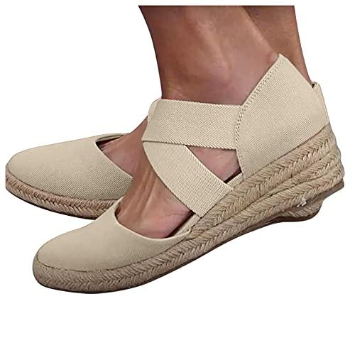 Aniywn Women s Elastic Band Ankle Strap Round Closed Toe Espadrilles Wedges Heel Sandals Mid Heel Platform Shoes Beige