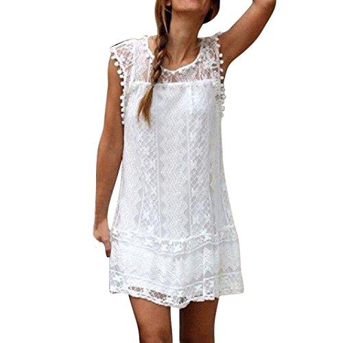 Vestido Largo Mujeres Casual Borla del cordón Sin Playa Mini Vestido (S, Blanco)