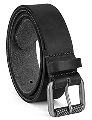 Colonial Belt Company Men's Made in The USA Casual Leather Jean Belt, black/Roller buckley, 38