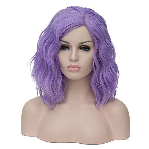 BERON 14' Women Girls Short Curly Bob Wavy Wig Body Wave Halloween Cosplay Daily Party Wigs (Lavender Purple)