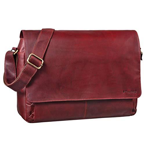 STILORD \'Lonzo\' Vintage Umhängetasche echtes Büffel-Leder Messenger Bag für Herren und Damen Unitasche Büro Business Studium Leder, Farbe:Rosso