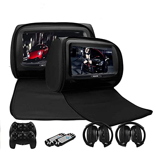 MaSYZBF Reposacabezas para Reproductor de Coche, Reproductor de DVD Portátil Bluetooth 4,0 IPS Pantalla Táctil Monitor para Coche Incorporada de Soporte HDMI FM WiFi