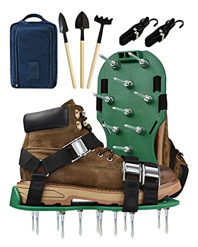 Kardition Zapato aireador de césped de alto rendimiento [verde oscuro] Sandalias aireadoras de césped con pinchos [correa reforzada] Jardín Trabajo 3 Zapatos de zapatos para el suelo del jardín