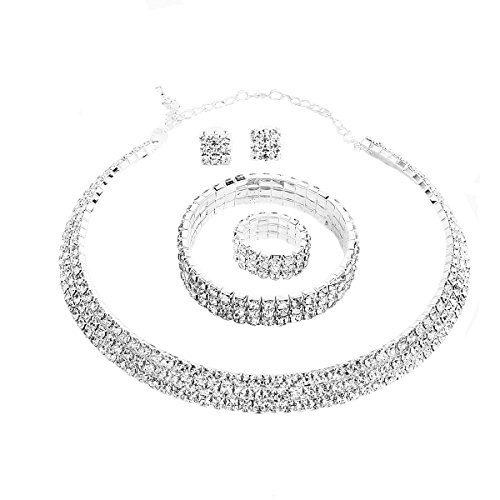 Santfe Crystal Rhinestone Choker Necklace Earrings Bracelet Ring Jewelry Set for Wedding Bridal Prom Party (White)