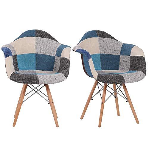 MUEBLES - Juego de 2 sillas de cocina modernas de mediados de siglo, de tela multicolor, estilo lino, silla de ocio moldeada con respaldo y patas de madera para comedor, dormitorio, sala de estar