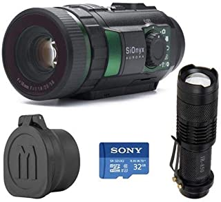 SiOnyx Aurora IR Night Vision Camera - Bundle with 32GB MIcroSDHC U3 Card, WindFire Mini IR Zoomable 5W 850nm LED Flashligh, Monstrum Tactical Rubberized Lens Covers