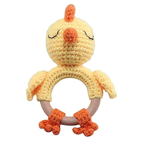 Sonajero de madera para recién nacidos, primer sonajero de juguete – Agarra la mano del bebé, sostiene y sacude juguete con sonido,