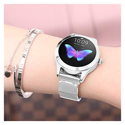GYY Moda Fitness Pulsera Reloj Inteligente Mujeres IP68 Impermeable Modo Multi-Deportes Podómetro Ritmo Cardíaco Banda Inteligente para Lady Pulseras (Color : Steel Silver)