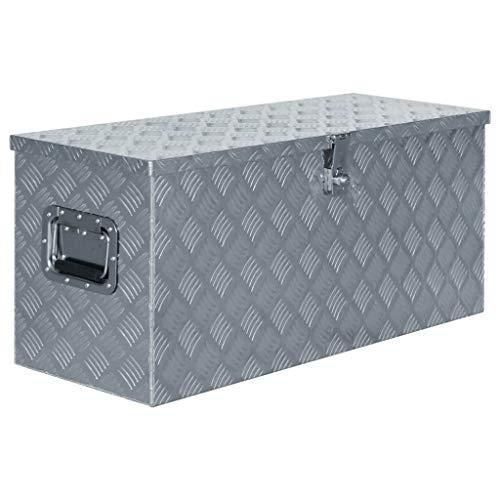 vidaXL Caja de Aluminio 90,5x35x40 cm Plateada...