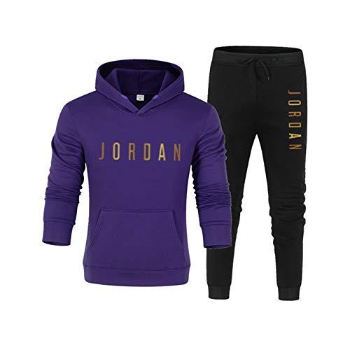 Chándal para hombre Jordann, estilo retro, sudadera con capucha y pantalones de baloncesto, estilo informal, 2 unidades, sudadera con capucha y pantalón