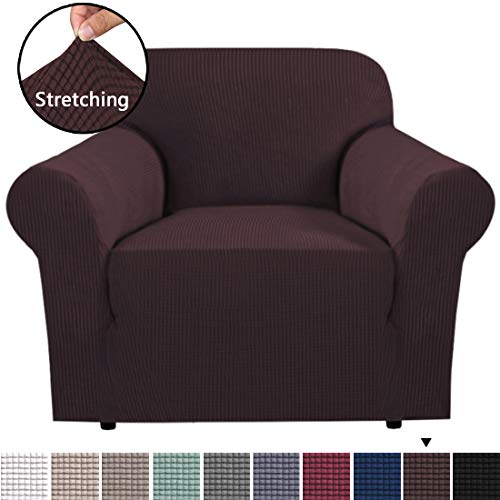 BellaHills Stretchüberzüge, 1 Stück Sofabezüge, Möbelschutz mit elastischem Boden, Anti-Rutsch-Schaumstoffe Polyester Spandex-Jacquard-Gewebe Small Checks von One Seater Brown