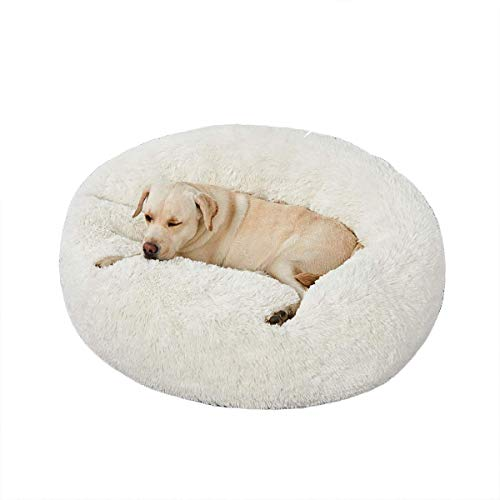 Super zacht donut huisdier bed voor katten puppies & kleine middelgrote grote honden, huisdier kalmerende bed shag knuffel hond kennel kussen, XL-100cm, Kleur: wit