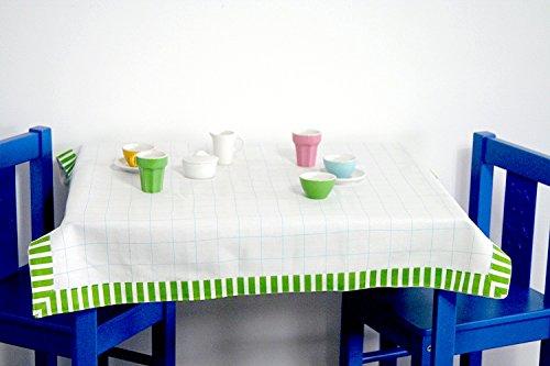 Unbekannt IKEA Kindertischdecke DUKTIG Tischauflage in 70x70 cm - weiß mit Bordüre - geeignet für die Kindertische Kritter, Lätt, Mammut u.v.m.