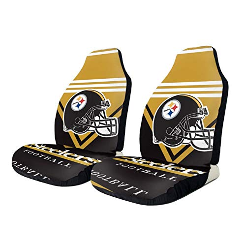 Pittsburgh Steelers Car Seat Covers 2pcs, American Football Design Cushions Suitable for Most Cars Rucks SUVs,Easy Install 20.5 x 54.5inch
