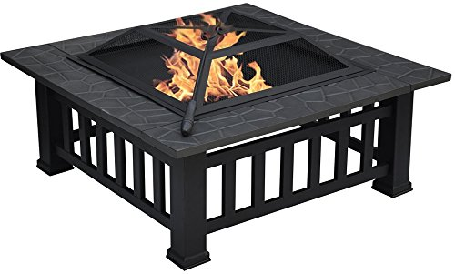 Centurion Supports GEDI Multi-Functional Black Square Outdoor Garden & Patio Heater Fire Pit Brazier
