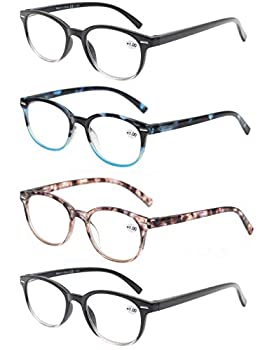 OLOMEE Reading Glasses Women Men Readers 0.75 Small/Petite Round Eyeglasses for Reading with Comfortable Spring Hinge Lightweight 4 Pack