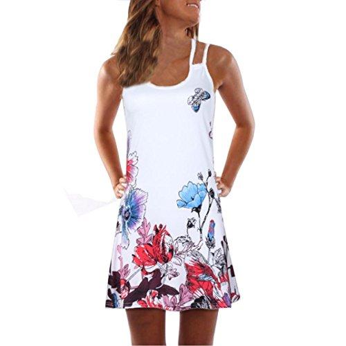 VEMOW Sommer Elegante Damen Frauen Lose Vintage Sleeveless 3D Blumendruck Bohe Casual Täglichen Party Strand Urlaub Tank Short Mini Kleid(Weiß 6, 40 DE/L CN)