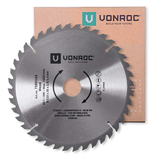 VONROC Lama per sega 210 x 30 mm - 40 denti. Per legno. Adatto per seghe da banco e troncatrici