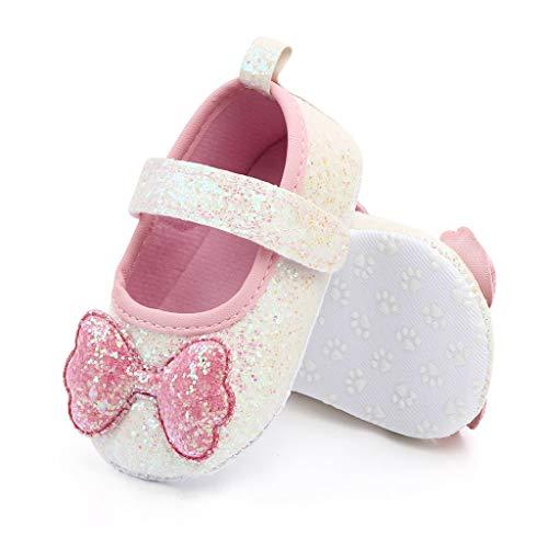 Nyuiuo Moda Infantil Niñas Zapatos de Princesa con Nudo de Proa de Suela Blanda Zapatos para Caminar para bebés Zapatos Casuales Antideslizantes al Aire Libre Zapatos Transpirables
