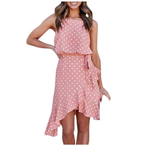 Lowest Price! Franterd Women's Casual Halter Neck Sleeveless Floral Long Maxi Dress Backless Loose Ruffle Sundress with Belt Pink