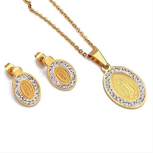 ZPPYMXGZ Co.,ltd Conjunto de Collar y Pendiente de Acero Inoxidable Madre Virgen María, Conjunto de joyería Religiosa católica de Color Dorado para Mujer